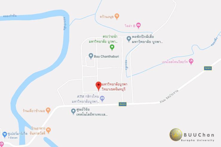 แผนที่เดินทาง วิทยาลัยบูรพา วิทยาเขตจันทบุรี